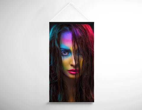 Textile Salon Banner - Woman in Neon Multi Colored Makeup