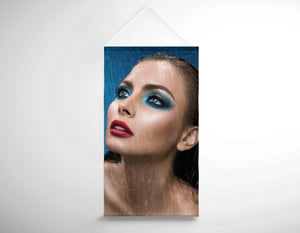 Salon Banner - Woman in Bright Blue Eyeshadow in the Rain
