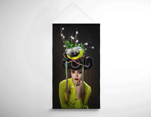 Salon Banner - Woman with Yellow Dress with Feather and Leaf Headdress