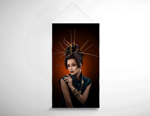Salon Banner - Woman with Twig Headdress and Oriental Look