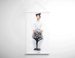 Salon Banner - Woman in Quiff Hairstyle with Tree Graphic Design Gown