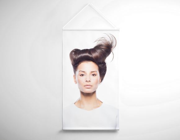 Textile Salon Banner - Woman in Quiff Hairstyle with Tree Graphic Design Gown - Bound for Style