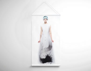 Textile Salon Banner - Woman with Blue Hair in Graphic Gown - Bound for Style