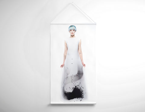 Textile Salon Banner - Woman with Blue Hair in Graphic Gown