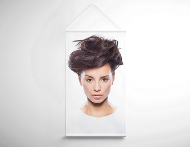 Textile Salon Banner - Woman in Messy Bun Updo - Bound for Style