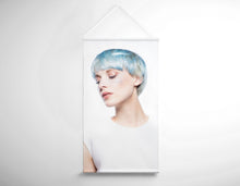 Load image into Gallery viewer, Salon Banner - Woman with Blue Hair in Graphic Gown