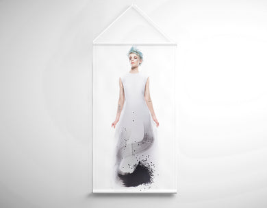 Textile Salon Banner - Woman with Blue Spiky Hair in Graphic Gown - Bound for Style