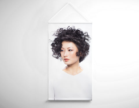 Textile Salon Banner - Woman with Messy Curls Short Hairstyle