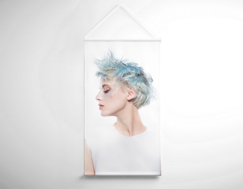 Textile Salon Banner - Woman with Blue Spiky Hair