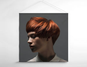 Salon Banner - Caucasian Woman in Copper Red Bob Hairstyle