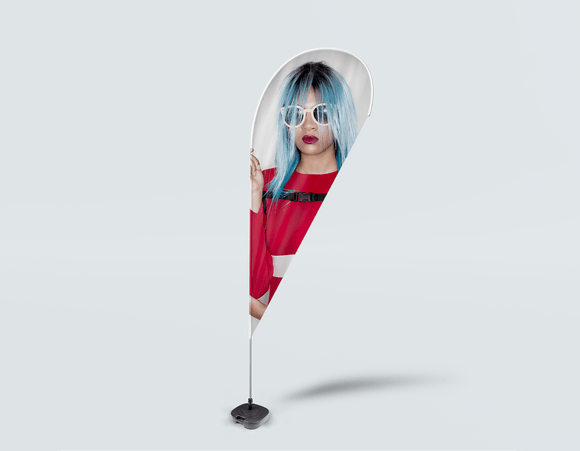 Salon Drop Flag - Woman Front with Blue Bob Hairstyle in Red Dress - Bound for Style