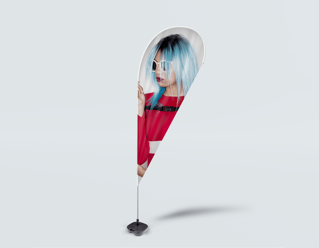 Salon Drop Flag - Woman with Blue Bob Hairstyle in Red Dress - Bound for Style