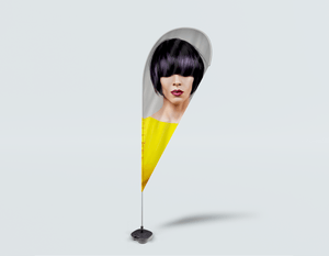 Salon Drop Flag - Woman Front with Bob Hairstyle with Purple Highlights - Bound for Style