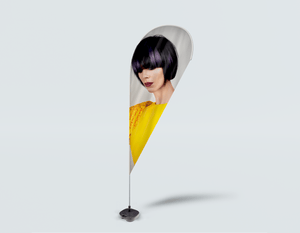 Salon Drop Flag - Woman with Bob Hairstyle with Purple Highlights - Bound for Style