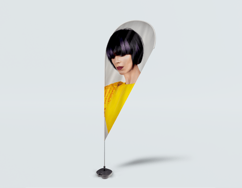 Salon Drop Flag - Woman with Bob Hairstyle with Purple Highlights