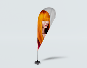 Salon Beach Flag - Woman Front 2 with Long Orange Colored Hair