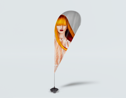 Salon Drop Flag - Woman Front with Long Orange Colored Hair
