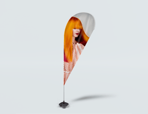 Salon Beach Flag - Woman with Long Orange Colored Hair