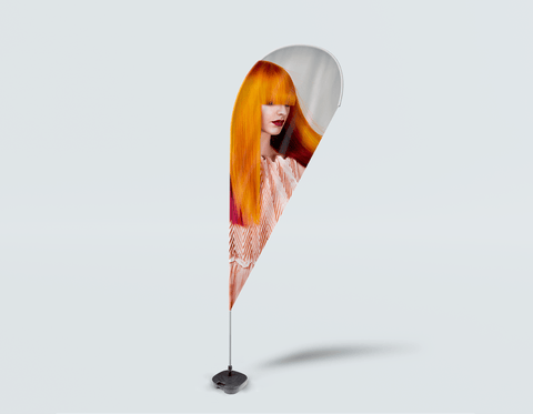 Salon Drop Flag - Woman with Long Orange Colored Hair