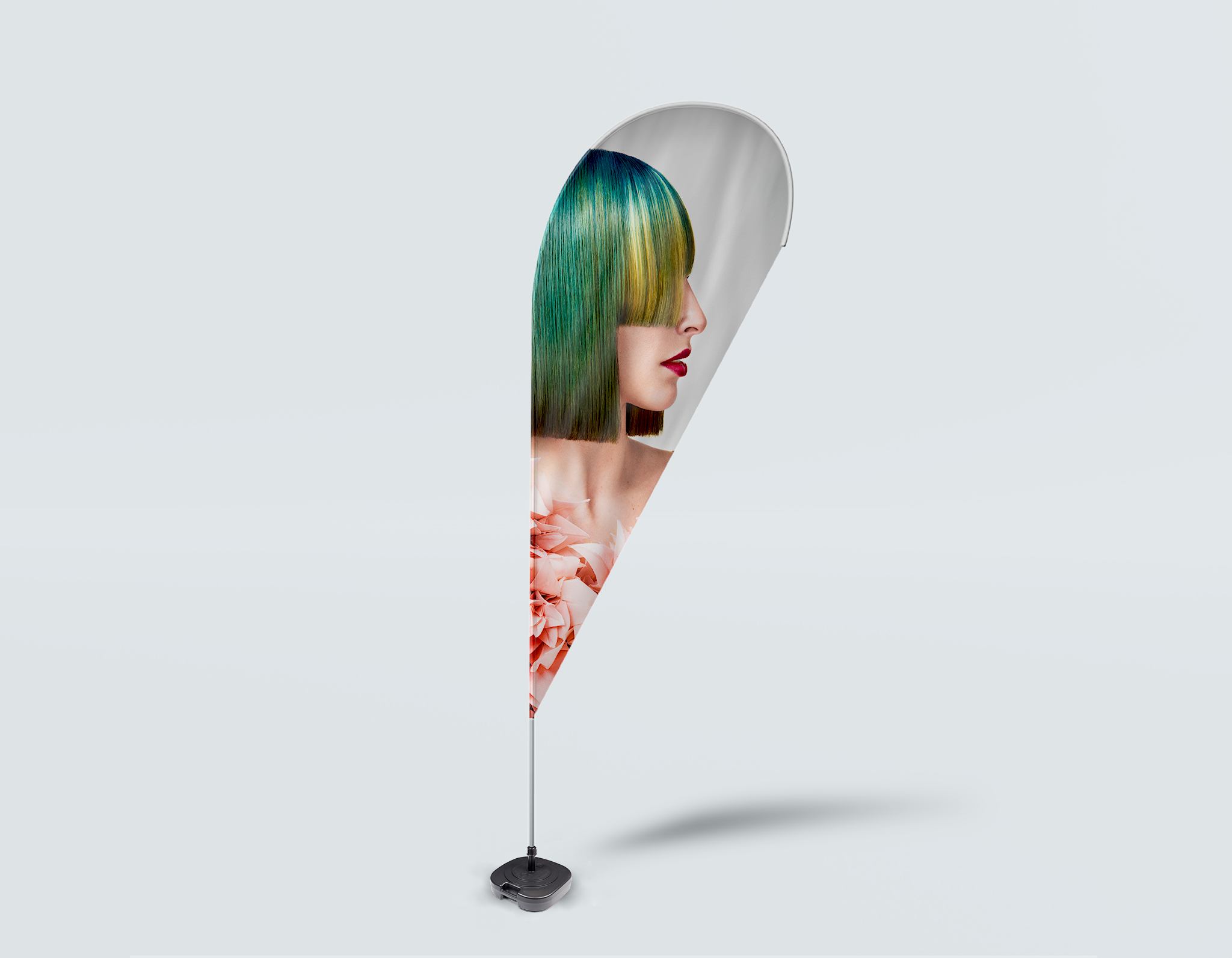Salon Drop Flag - Woman with Green Hair in Peach Floral Textured Dress
