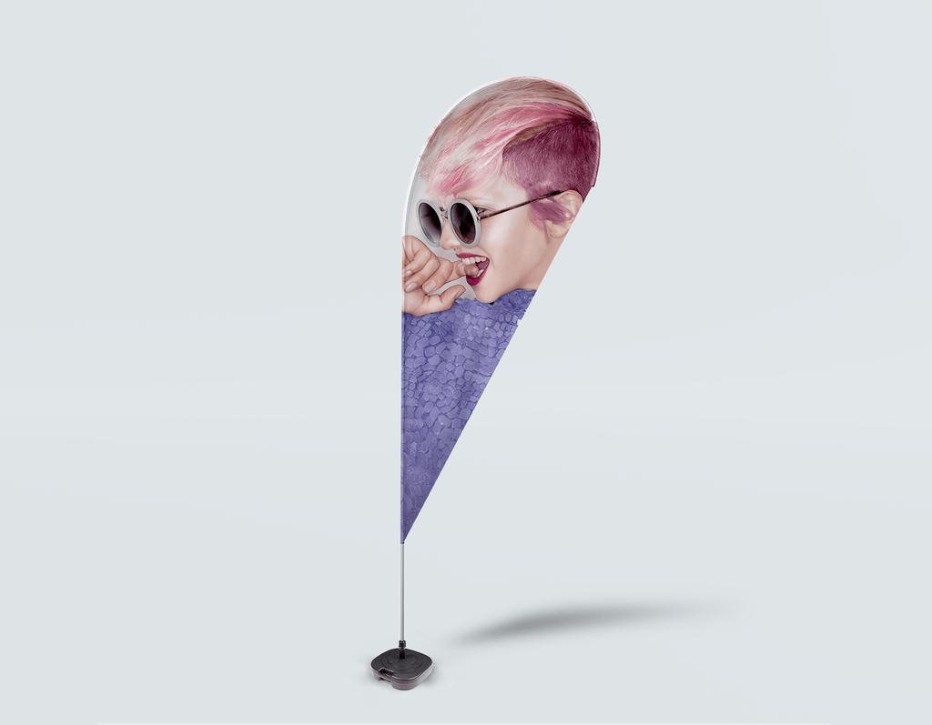Salon Drop Flag - Woman Side in Pink Hair Colored Pixie Cut - Bound for Style