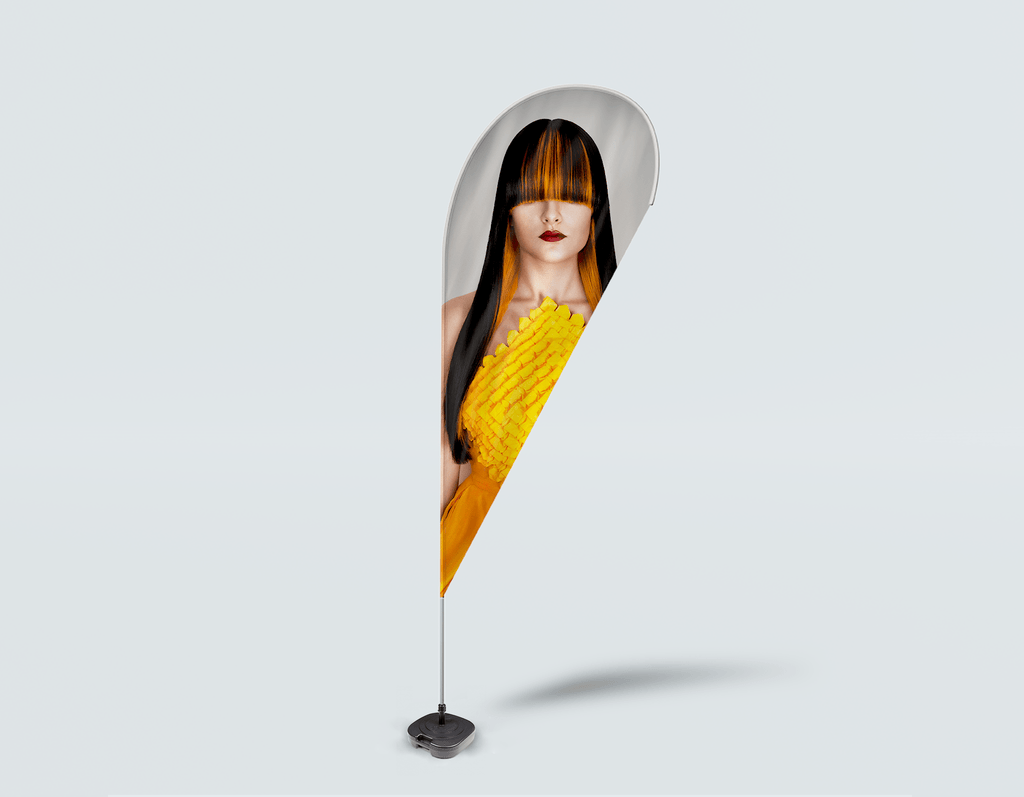 Salon Drop Flag - Woman Front with Long Straight Hair with Orange Highlights - Bound for Style