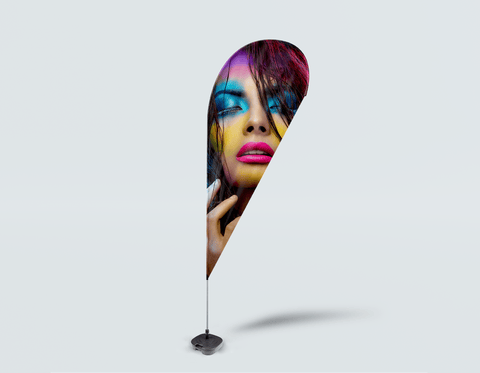 Salon Drop Flag - Woman in Neon Multi Colored Makeup