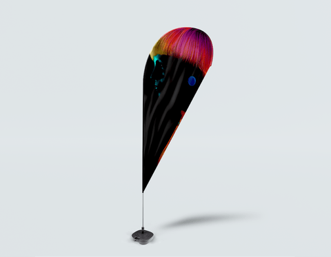 Salon Drop Flag - Bob with Neon Colored Hairstyle in Silhouette