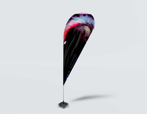 Salon Drop Flag - Neon Mohawk Silhouette