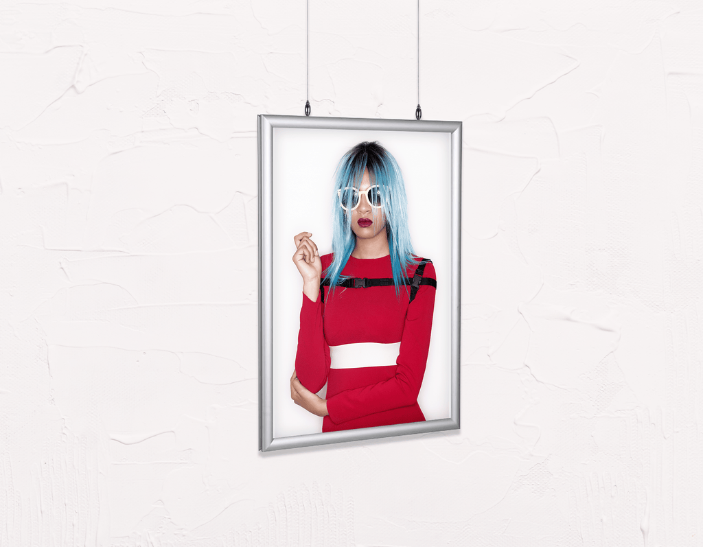 Salon Poster Click Frames, Double-Sided: Woman Front with Blue Bob Hairstyle in Red Dress - Bound for Style
