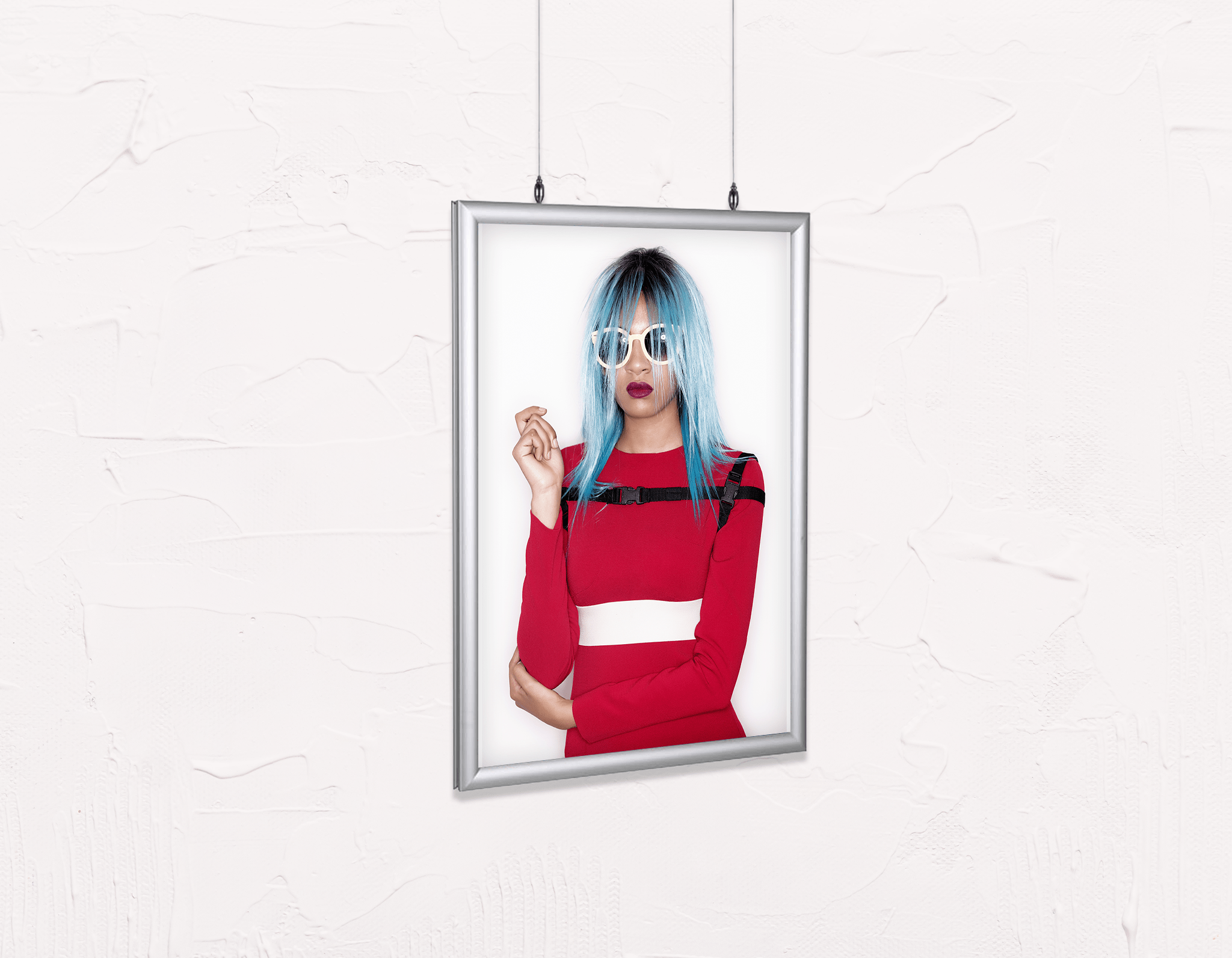 Salon Poster Click Frames, Double-Sided: Woman Front with Blue Bob Hairstyle in Red Dress