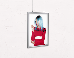 Salon Poster Click Frames, Double-Sided: Woman with Blue Bob Hairstyle in Red Dress - Bound for Style