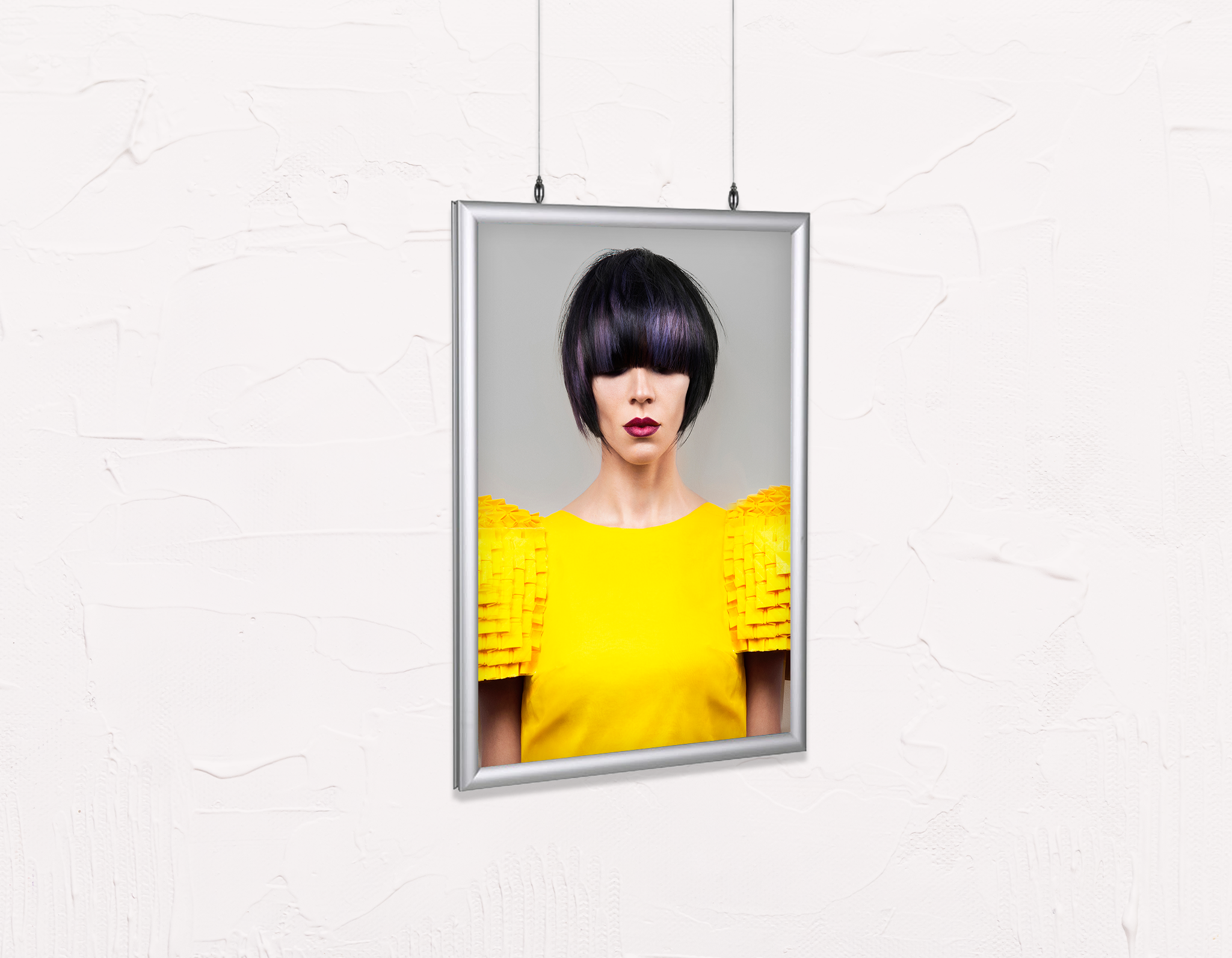 Salon Poster Click Frames, Double-Sided: Woman Front with Bob Hairstyle with Purple Highlights