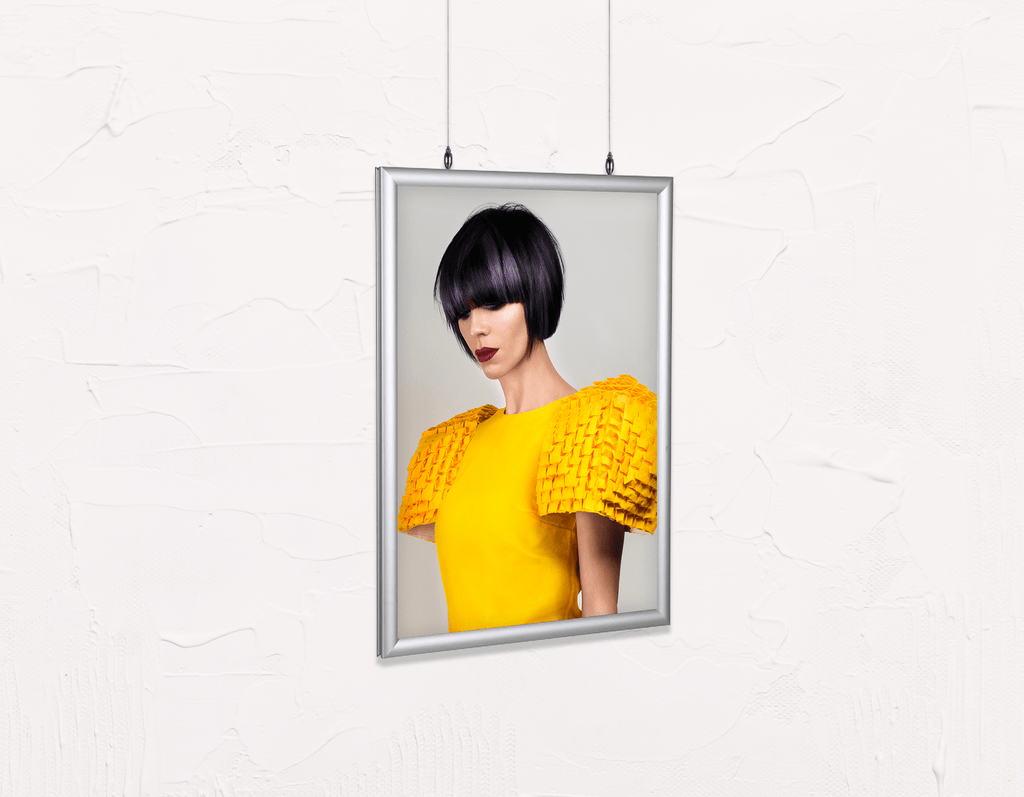 Salon Poster Click Frames, Double-Sided: Woman with Bob Hairstyle with Purple Highlights - Bound for Style