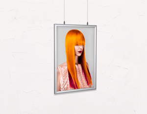Salon Poster Click Frames, Double-Sided: Woman Front 2 with Long Orange Colored Hair - Bound for Style