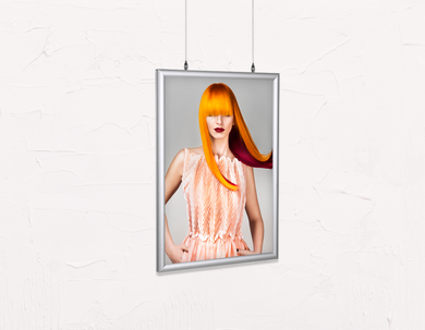 Salon Poster Click Frames, Double-Sided: Woman Front with Long Orange Colored Hair - Bound for Style