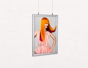 Salon Poster Click Frames, Double-Sided: Woman with Long Orange Colored Hair - Bound for Style