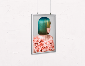 Salon Poster Click Frames, Double-Sided: Woman with Green Hair in Peach Floral Textured Dress - Bound for Style