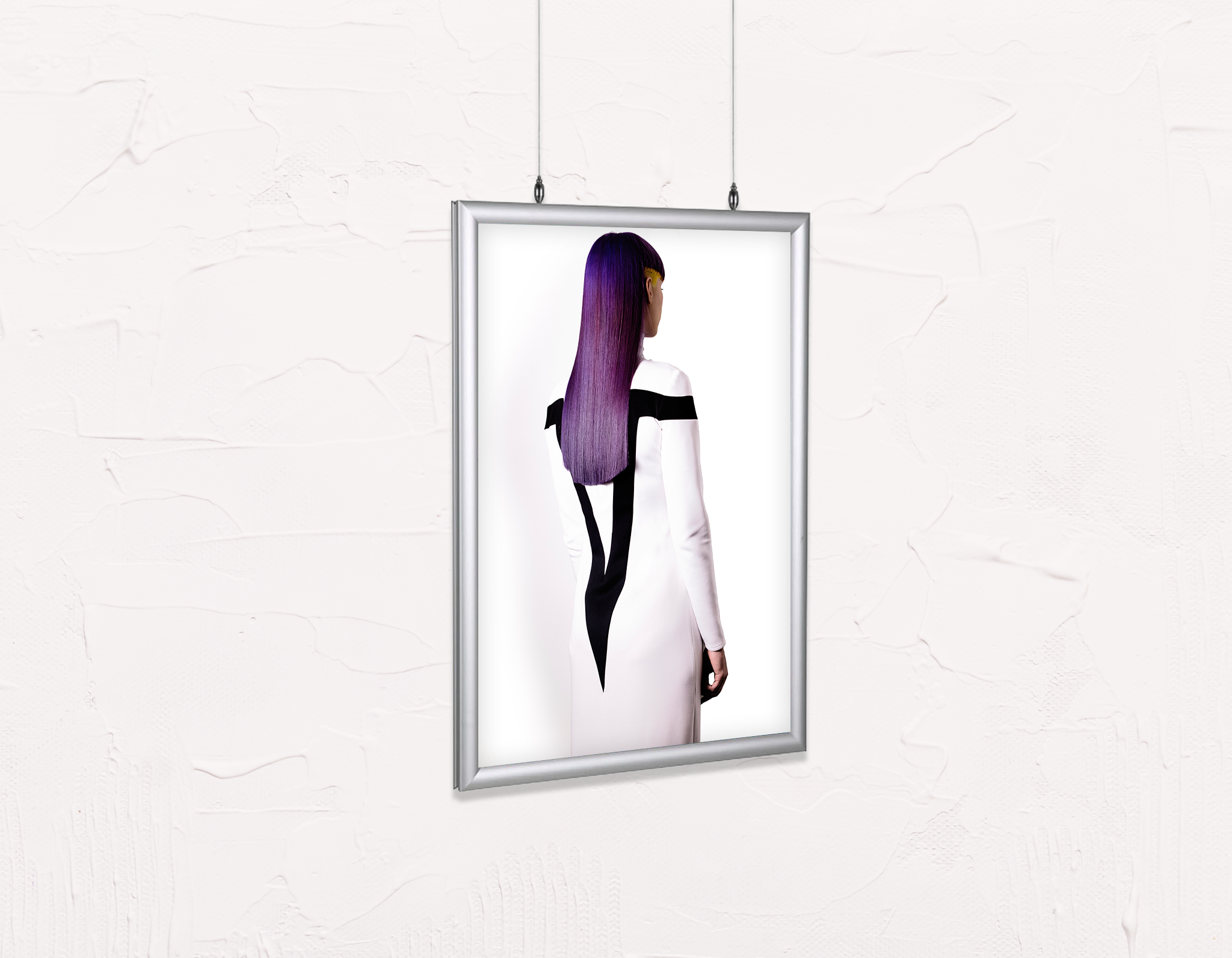 Salon Poster Click Frames, Double-Sided: Woman with Long Purple Color Hair