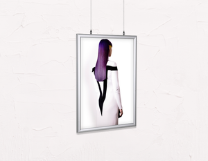 Salon Poster Click Frames, Double-Sided: Woman with Long Purple Color Hair - Bound for Style