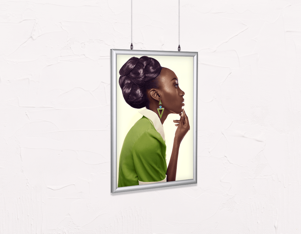 Salon Poster Click Frames, Double-Sided: Dark Skinned Woman in Updo with Big Curls - Bound for Style