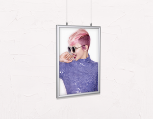 Salon Poster Click Frames, Double-Sided: Woman Side in Pink Hair Colored Pixie Cut - Bound for Style