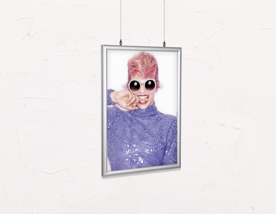 Salon Poster Click Frames, Double-Sided: Woman Front in Pink Hair Colored Pixie Cut - Bound for Style