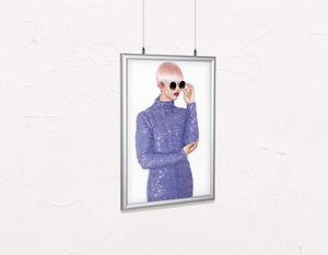 Salon Poster Click Frames, Double-Sided: Woman in Pink Hair Colored Pixie Cut - Bound for Style