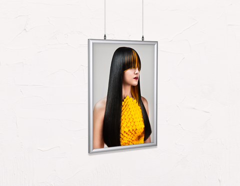 Salon Poster Click Frames, Double-Sided: Woman with Long Straight Hair with Orange Highlights