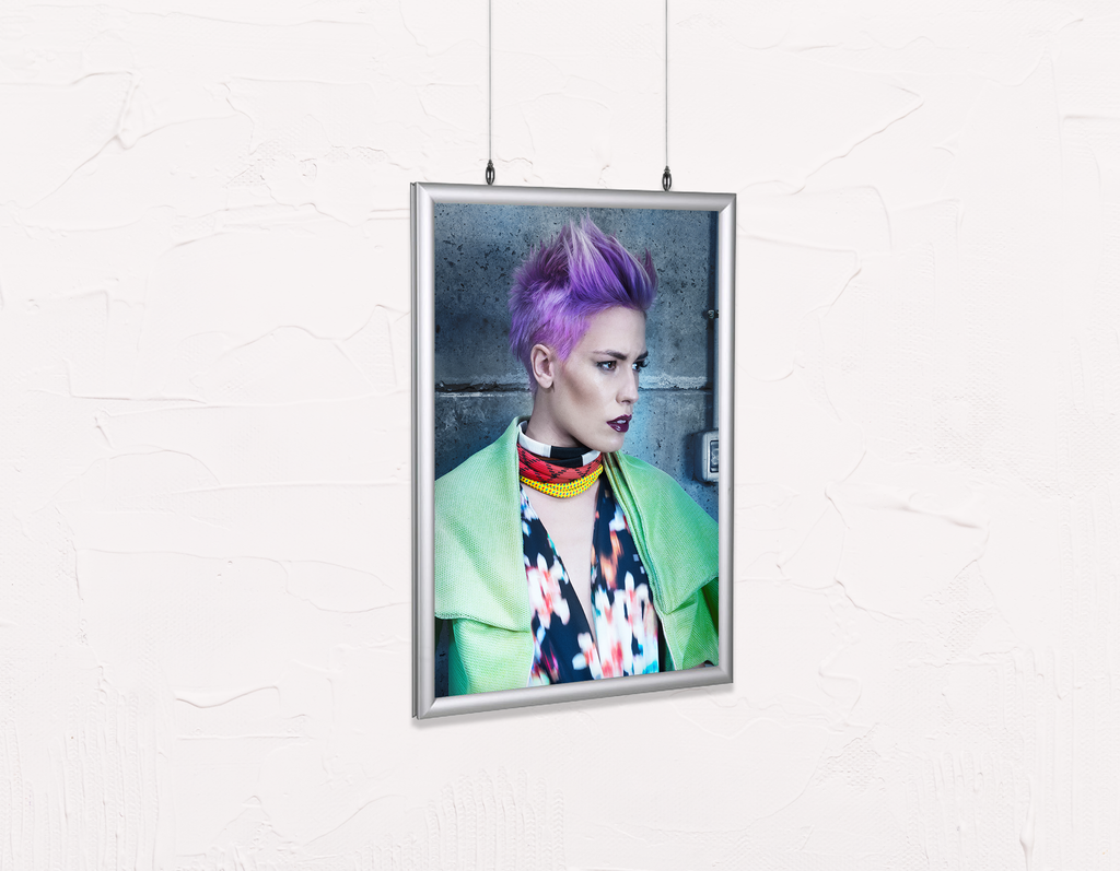 Salon Poster Click Frames, Double-Sided: Woman in Purple Pixie Cut - Bound for Style