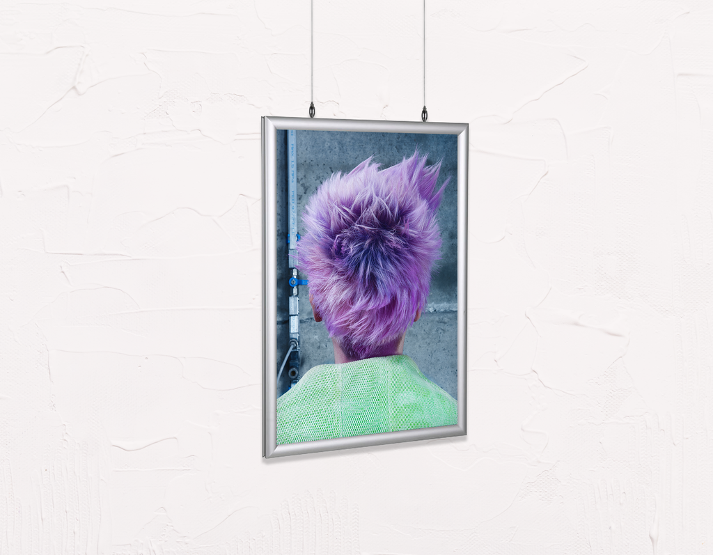 Salon Poster Click Frames, Double-Sided: Woman in Purple Pixie Cut Back - Bound for Style