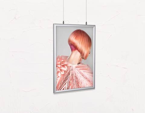 Salon Poster Click Frames, Double-Sided: Woman with Pink Colored Bob Hairstyle Back
