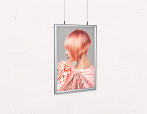Salon Poster Click Frames, Double-Sided: Woman with Pink Colored Bob Hairstyle - Bound for Style
