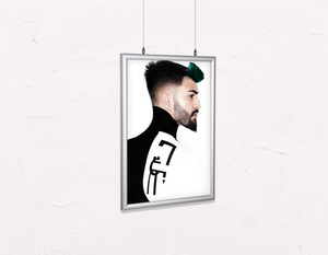 Salon Poster Click Frames, Double-Sided: Man with High Fade Quiff Haircut in Black and White Outfit - Bound for Style